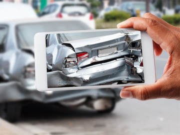 Cellphone image of a wrecked car - Kelly Lee Insurance - car insurance - lake charles, la